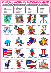 4th of July ESL Matching Exercise Worksheet For Kids
