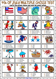 4th of July ESL Printable Multiple Choice Test For Kids
