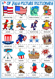 4th of July ESL Picture Dictionary Worksheet For Kids