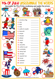4th of July ESL Unscramble the Words Worksheet