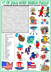 4th of July ESL Word Search Puzzle Worksheet