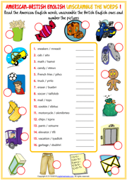 American British English Unscramble the Words Worksheets