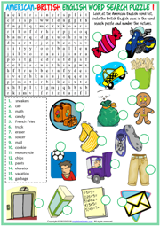 American British English ESL Word Search Puzzle Worksheets