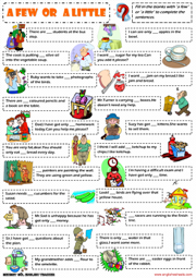 simple ESL grammar exercise worksheet with pictures for kids to ...