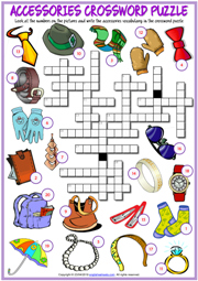 Accessories ESL Crossword Puzzle Worksheet For Kids