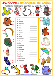 Accessories ESL Printable Unscramble the Words Worksheet