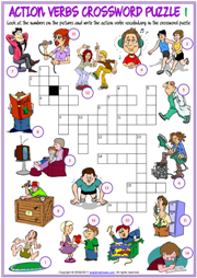 Action Verbs Crossword Puzzle ESL Worksheets For Kids  Action Verbs