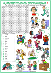 Action Verbs Word Search Puzzle ESL Worksheets For Kids