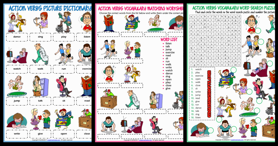 action verbs esl printable worksheets and exercises - Action Berbs