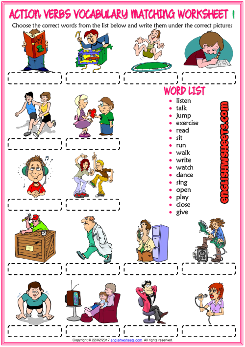 Action Verbs Vocabulary Matching Exercise ESL Worksheets