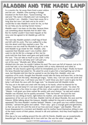 Aladdin and the Magic Lamp ESL Reading Text Worksheet For Kids