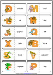 Alphabet with Animals  ESL Printable Dominoes Game
