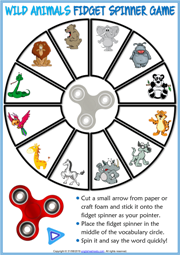Animals ESL Printable Fidget Spinner Game For Kids