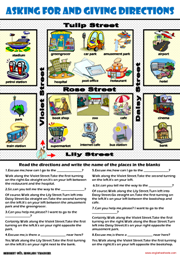 Giving Directions ESL Printable Worksheets and Exercises