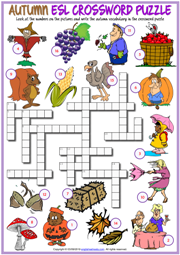 Autumn ESL Printable Crossword Puzzle Worksheet For Kids