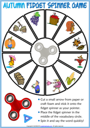 Autumn ESL Printable Fidget Spinner Game For Kids