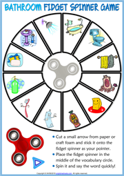 Bathroom Objects ESL Printable Fidget Spinner Game