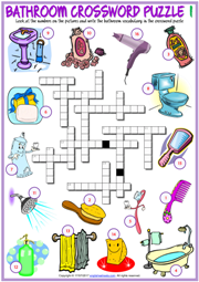 Bathroom ESL Printable Crossword Puzzle Worksheets