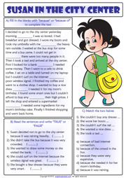 Because or Because of Reading Text Exercises Worksheet