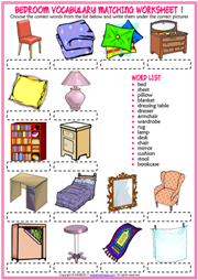 Bedroom esl printable worksheets and exercises for Bedroom furniture vocabulary