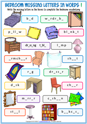 Bedroom Missing Letters In Words Exercise Worksheets