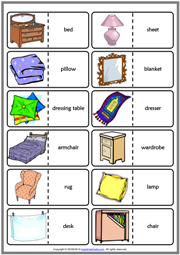 Bedroom Objects ESL Printable Dominoes Game For Kids