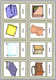 Bedroom Objects ESL Printable Vocabulary Learning Cards