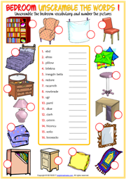 Bedroom Objects ESL Unscramble the Words Worksheets