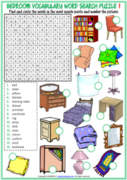 Bedroom Objects ESL Word Search Puzzle Worksheets