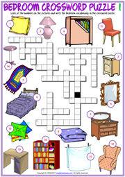 Bedroom Objects ESL Crossword Puzzle Worksheets
