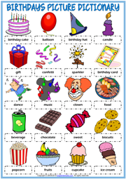 Birthdays ESL Printable Picture Dictionary Worksheet For Kids