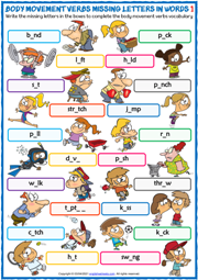 Body Movement Verbs ESL Missing Letters In Words Worksheets