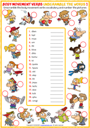 Body Movement Verbs ESL Unscramble the Words Worksheets