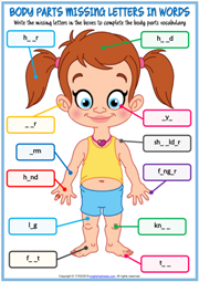 Body Parts Missing Letters In Words Exercise Worksheet