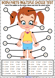 Body Parts ESL Printable Multiple Choice Test For Kids