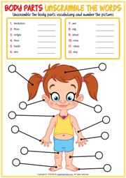 Body Parts Esl Vocabulary Worksheets - Download Body Parts Worksheet For Kindergarten Pictures