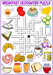 Breakfast ESL Printable Crossword Puzzle Worksheet For Kids