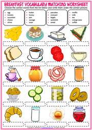 Breakfast ESL Vocabulary Matching Exercise Worksheet