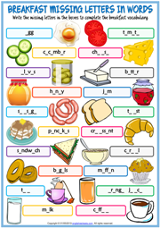 Breakfast ESL Missing Letters In Words Exercise Worksheet