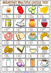 Breakfast ESL Printable Multiple Choice Test For Kids