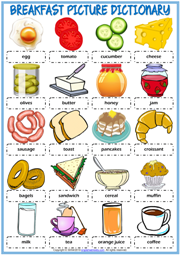 Breakfast ESL Printable Picture Dictionary Worksheet For Kids