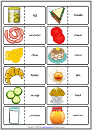 Breakfast ESL Printable Dominoes Game For Kids