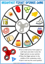 Breakfast ESL Printable Fidget Spinner Game For Kids