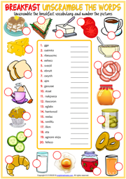 Breakfast ESL Printable Unscramble the Words Worksheet