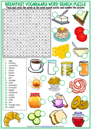 Breakfast ESL Word Search Puzzle Worksheet For Kids