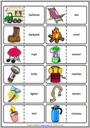 Camping ESL Printable Dominoes Game For Kids