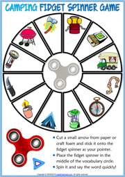 Camping ESL Printable Fidget Spinner Game For Kids