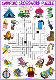 Camping ESL Printable Crossword Puzzle Worksheet For Kids