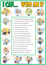 Ability : Can ESL Jobs Matching Exercise Worksheet For Kids