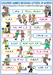 Children Games Missing Letters In Words Exercise Worksheet